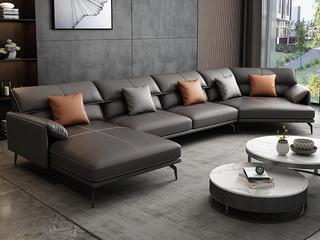 极简风格 高弹舒适 全实木框架+白鹅羽绒靠包 转角+3+右贵妃 高级灰 仿真皮沙发