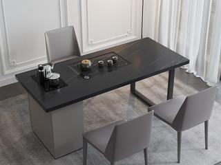 极简风格 意式耐高温雪山白岩板台面 茶桌书桌二合一 全自动智能烧水茶炉 长1.8米功能书桌