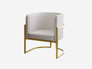 轻奢风格 环保皮艺 柔软舒适 米白色 休闲茶椅
