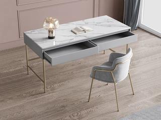 轻奢风格 柔软舒适布艺 不锈钢电镀脚 灰色 书椅