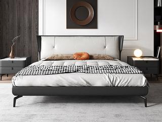 极简风格 岩板 实木内架 优质扪皮 深灰色 床头柜