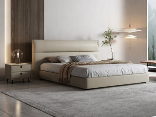极简风格 高弹软靠+实木框架 米黄色1.8米皮艺床(搭配实木排骨架)