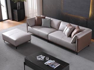 现代简约 透气亲肤 防尘易清洁 科技布 卡其色+浅灰色 2+2+脚踏沙发组合