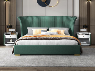 简美风格 全实木床边 布艺 舒适睡感 亮绿色 多功能储物实木高箱床 卧室 1.5米床(图片为排骨架床)