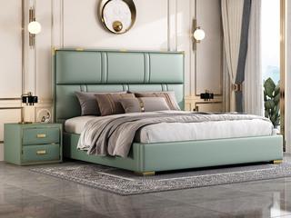 简美风格 全实木床边 皮艺 柔软舒适 绿色 多功能储物实木高箱床 卧室1.8米双人床(图片为排骨架床)