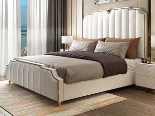 轻奢风格 皮艺 多功能储物实木高箱床 1.5*2.0米床(图片为排骨架床)
