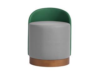 极简风格 高弹舒适 优质皮艺 绿色座背+灰色座包 圆凳