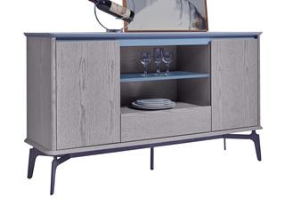 极简风格 稳固承重 优质灰橡木 防刮耐磨岩板台面 质感细腻 餐边柜
