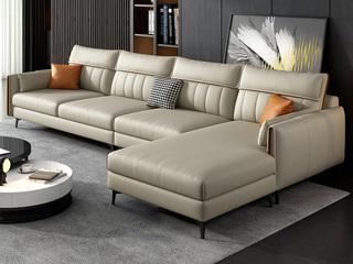 现代简约 全手工工艺 高弹舒适科技布 松木框架 卡其色 2+2脚踏沙发组合(不分左右)