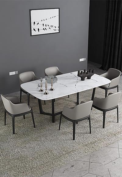 米勒 現代簡約 白色大理石 餐桌